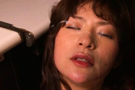 Hot Japanese model has an office gangbang