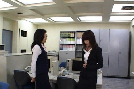 Mai Sutsuki gets some lesbian action and a big cock at the same time.