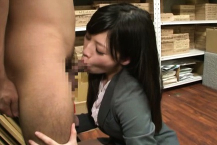 Lovely model Miku Sunohara sucks dick and eats cum in the office