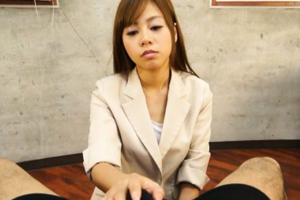 Appetizing Japanese office girl jerks off huge dick