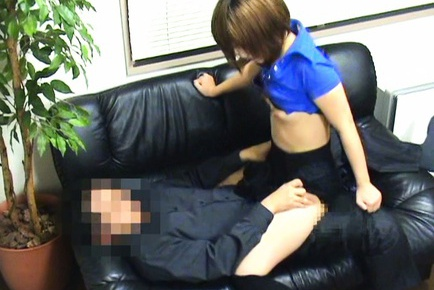 Cute guy disrobes cock starved Japanese offce lady