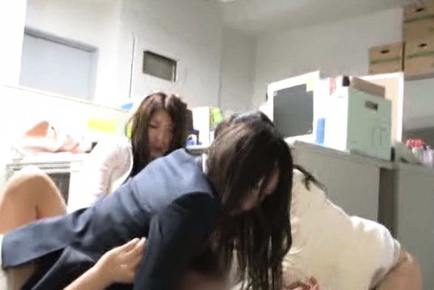 Pretty Asian chicks arrange breathtaking gangbang in their office