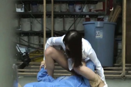 Insatiable Japanese milf gives head in the office