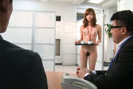 Secretary Miyuki Yokoyama gives double blowjob and gets fucked
