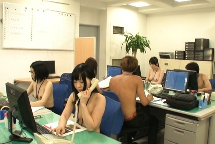 Hot office lady Yurie Matsushima enjoying a great fuck