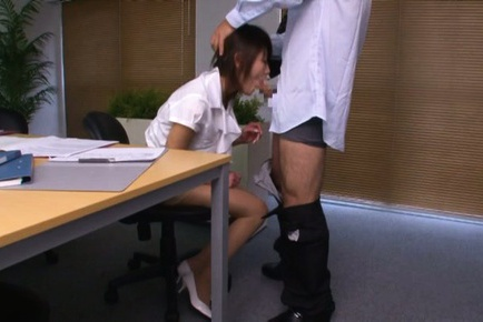 Needy for a raise, Japanese hottie accepts to fuck her boss
