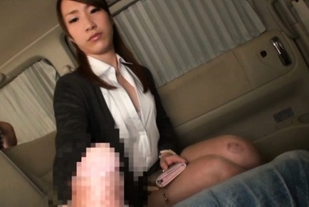 Alluring Asian office chick jerks off cock and deepthroats it on pov