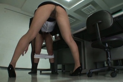 Kinky Asian office ladies tease their horny colleague share hos cock
