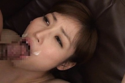 Hot Japanese office lady in fishnet stockings rides cock and eats cum