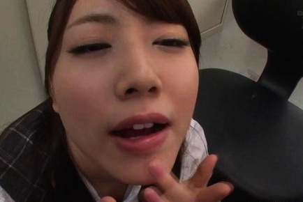 Beautiful Asian office babe Maho Ichikawa teases and gets a facial