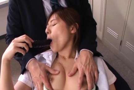 Young office babe Rina Rukawa gets dildoed in the locker room