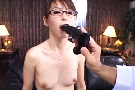 Horny office lady in glasses and in fancy stockings satisfies her boss